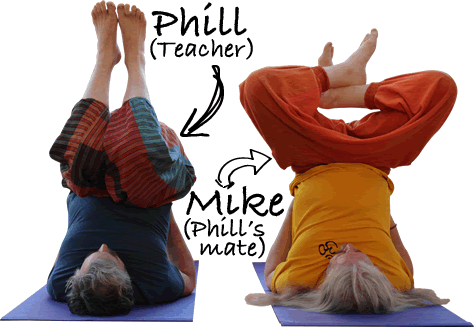 Mike & Phill doing yoga classes in Ammanford