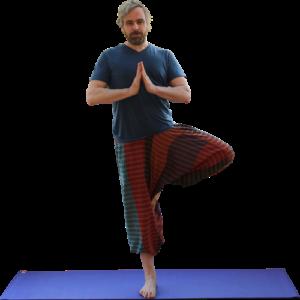 Yoga class balancing posture